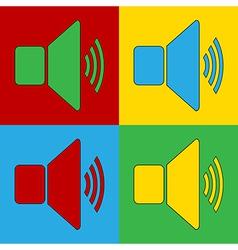 Pop art speaker volume icons vector
