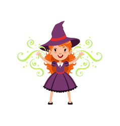 red-haired girl witch wearing purple dress and hat vector image vector image
