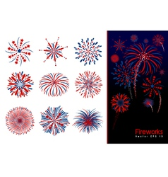 Set of fireworks design vector image