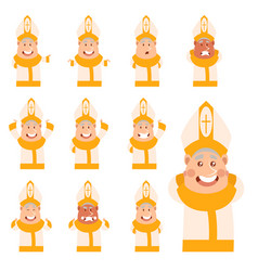 set of flat cartoon pope icons vector image vector image