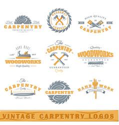 Set of vintage carpentry logos vector image vector image