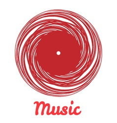 Stylized monochrome music vinyl record logo vector image