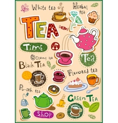 Tea design elements vector image vector image