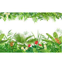 Tropical plants seamless border vector