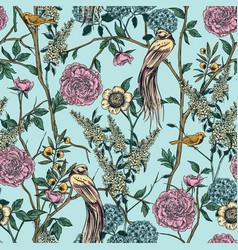 victorian garden floral seamless pattern vector image