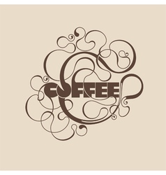 Abstract curly coffee label vector