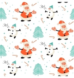 Happy Santa Claus and singing snowman pattern vector image