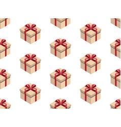 present seamless pattern isometric gift box vector image