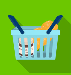 Basket with food e-commerce single icon in flat vector