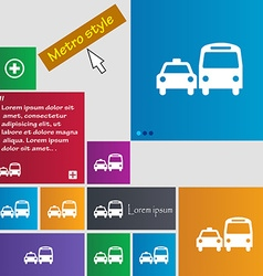 Taxi icon sign buttons modern interface website vector