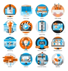 Creative online work round icons set vector
