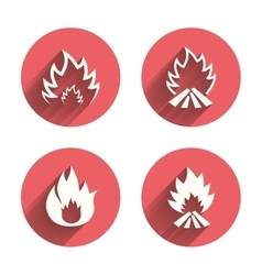 Fire flame icons heat signs vector