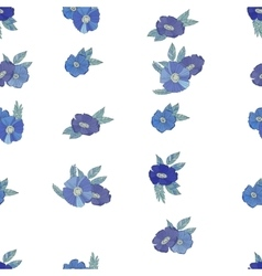 Blue flowers on white background vector
