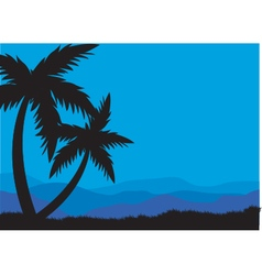 Silhouettes of two palm vector