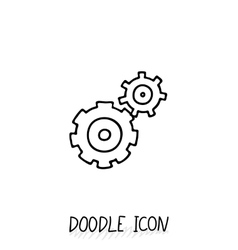 Doodle icon of gears technology mechanics team vector