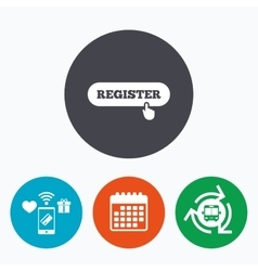 Register with hand pointer icon membership vector