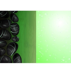 Green spa background with hot stones vector