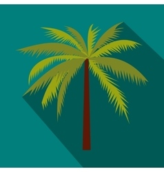 Coconut palm tree icon in flat style vector