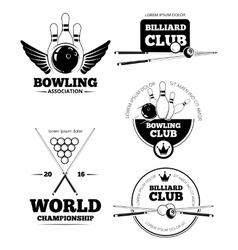 Billiards emblems and bowling labels vector
