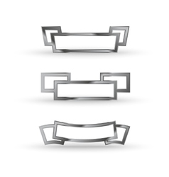 Metal ribbon icon set vector