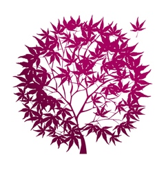 circle-shaped red maple tree vector image
