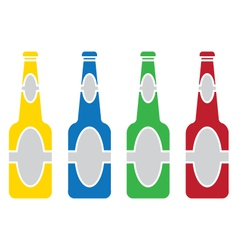 beer bottle colored set vector image vector image
