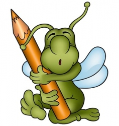 bug and pencil vector image vector image