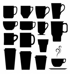 coffee cups mugs and tea vector image vector image