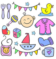 Collection of element various baby doodles vector