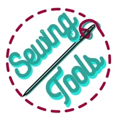 Color vintage sewing emblem vector image vector image