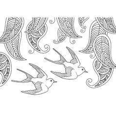 Coloring page with two birds and willow leafs vector image vector image