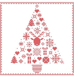 Cross stitched stars and winter elements in tree vector