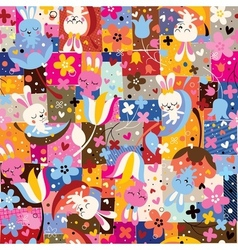 Cute bunnies flowers collage nature pattern vector