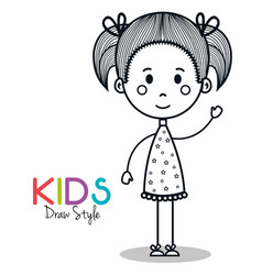 cute little girl drawing vector image vector image