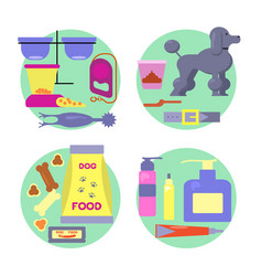 dog shop icons set vector image vector image