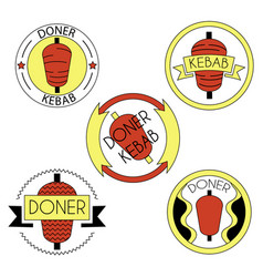 Doner kebab badge set vector