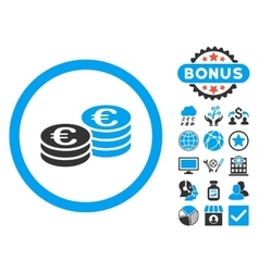Euro coin stacks flat icon with bonus vector