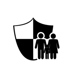 Family pictogram and shield icon vector