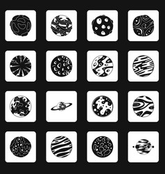 Fantastic planets icons set squares vector