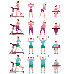 fat slim fitness people icon set vector image
