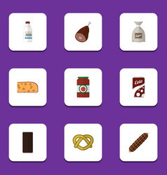 Flat icon food set of bottle cookie ketchup and vector