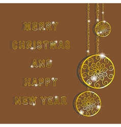 Golden snowflakes for merry christmas and happy ne vector