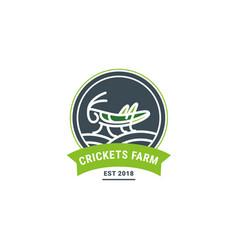 grasshopper on the field geometric figure logo vector image