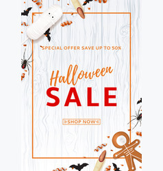 halloween sale flyer with treats vector image vector image