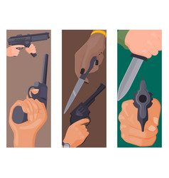 hand firing with gun cards protection ammunition vector image vector image