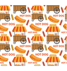 Hot dog seamless pattern endless texture fast vector