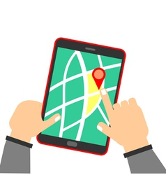 Human hand holding tablet with map vector