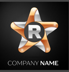 Letter r logo symbol in the colorful star on black vector