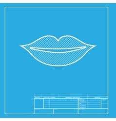 Lips sign White section of icon on vector image vector image
