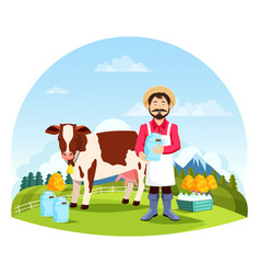 man near cow with bottles and cans of milk vector image